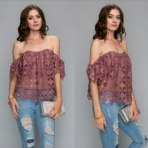 Tops - Off Shoulder Lace Top - Mauve